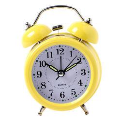 3'' Twin Bell Silent Non Ticking Sweep Bedside Quartz Alarm Clock, Travel Clock