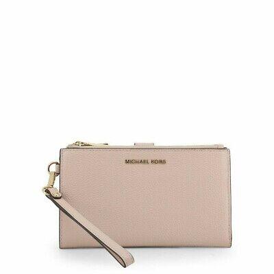 Michael Kors Adele Soft Pink Double Zip Leather Wallet Wristlet Purse