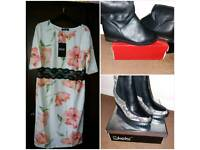 3 Brand new items 2xboots 1xdress