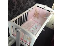 REDUCED! Mothercare swinging baby crib with 2 different bedding sets