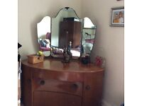 free to collect, ladies double wardrobe and kidney shaped dressing table