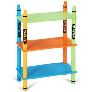 3 Tiers Kids Bookshelf Crayon Themed Storage Bookcase Shelves Toddler Colorful - BRAND NEW - FREE SHIPPING