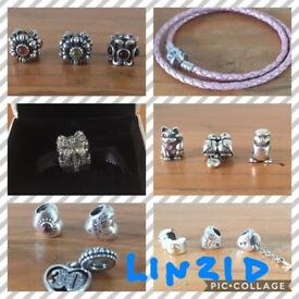 Pandora charms & bracelet pink £25