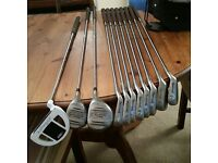 Men's RH golf set - carry bag, pull-trolley, 8 irons, 2 woods and 1 putter