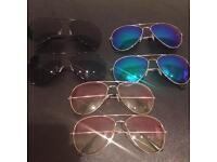 Aviator sunglasses + fabric bag
