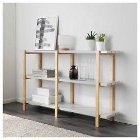 "2 New Ikea Shelf Units - Light Grey & Birch - 'Ypperlig"" - 5 tier and 3 tier shelves"