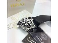 Chrome head black smooth soft leather belt Versace boxed complete gift for him