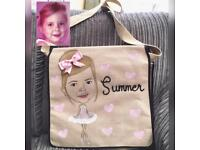 Hand painted satchel, personalised to look like you! Sale prices limited time only!!