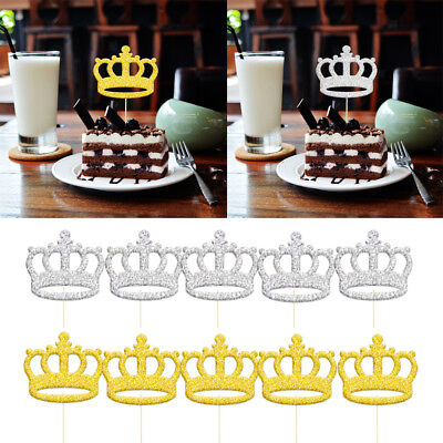 20pcs Birthday Cupcake Toppers Crown Party Decor Baby Shower DIY Wedding Cake