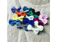 Knitted hair band bows.