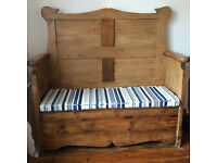 Old Pine Bench with lift up seat