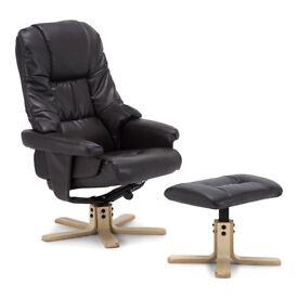 BROWN LEATHER SWIVEL RECLINING CHAIR