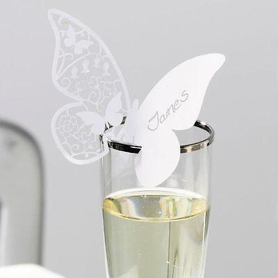 5 Namensschilder für Gläser ca.75x105 mm Schmetterling Hochzeit Party Geburtstag