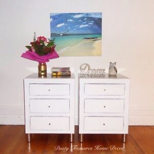 Shabby chic 2x solid wood bedside tables Cremorne Point North Sydney Area Preview