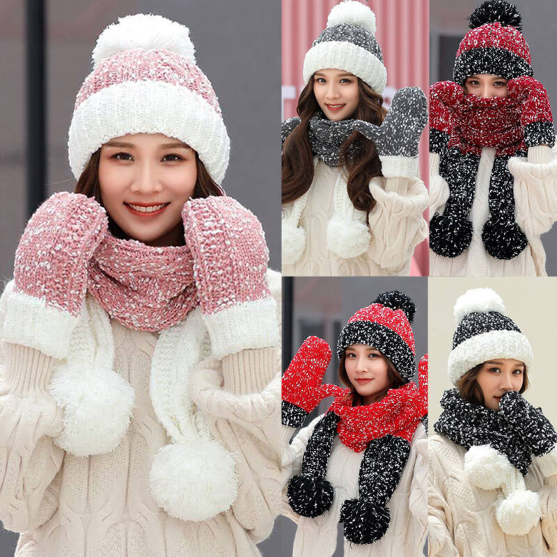 Snow Beanie PomPom Hat Women Thick Warm Soft Cable Scarf Winter Women Knit Set