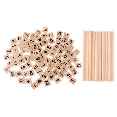 100pcs Wooden Number&Symbol Tiles with Wooden Tile Trays Racks Wood Crafts