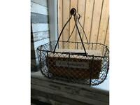 Antique egg basket and tissue box holder
