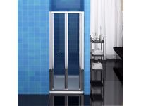 Bifold Shower Door 700mm x 1850mm - Chrome Frame, Toughened Glass