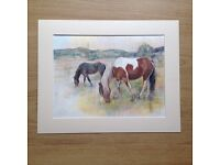 Drawing of horses on the field
