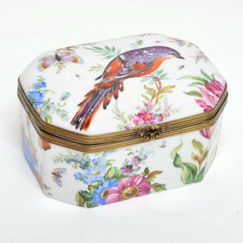 "ANTIQUE SEVRES PORCELAIN HINGED BOX, BIRD/BUTTERFLIES/FLOWERS, 5"""