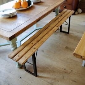 vintage rustic trestle bench. folding bench. antique trestle bench. hall or kitchen bench (1438)