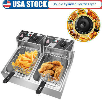 Stainless Steel Double Cylinder Electric Fryer Chicken Frying 5000w 12.7qt 12l