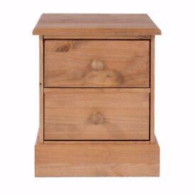 Solid Pine 2 Drawer Bedside