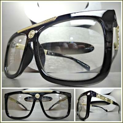 Men Classy Retro Luxury Designer Style Clear Lens EYE GLASSES Black & Gold (Luxury Spectacles)