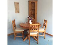 PINE DINING TABLE & FOUR CHAIRS - Excellent condition - Can extend to seat 6