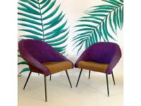 Pair of Sleek Purple Mid Century Armchairs