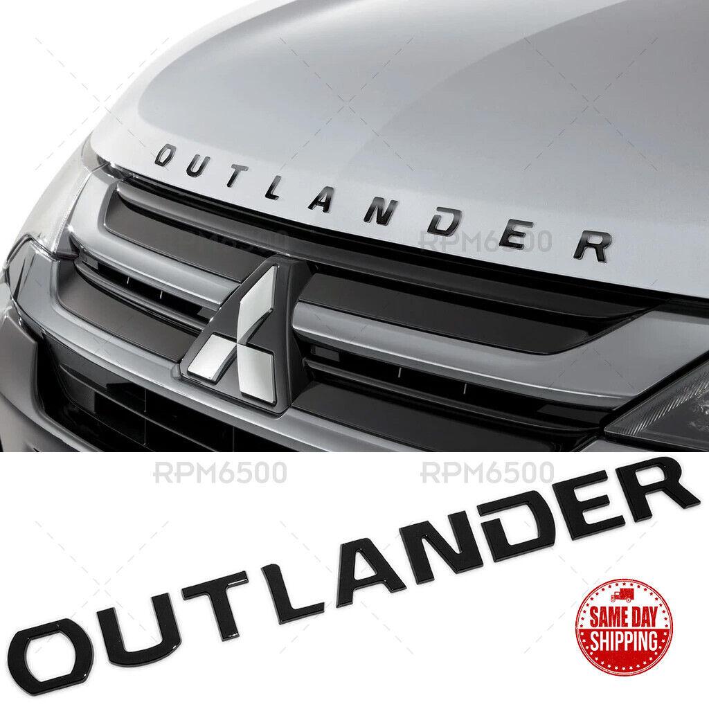 For Mitsubishi Outlander Hood Letter Logo Badge Nameplate Emblem Sport Black