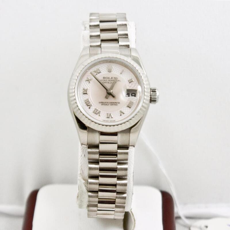 Rolex 18k White Gold Ladys President 179179 Rolex Mop Decorate Dial & 18k Bezel