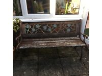 UPCYCLE! Garden bench needs new slats, but decorative wrought iron sides and back are perfectly good