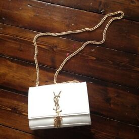 Brand New a White Handbag With Gold Logo YSL