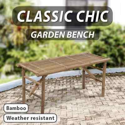 Garden Furniture - vidaXL Bamboo Folding Bench Outdoor Garden Patio Park Furniture Seat Chair