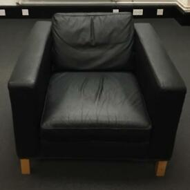 Black leather look Sofa and arm chair