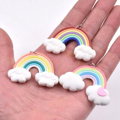 5PC Multi-Color Polymer Clay Rainbow Bridge Charm Pendant For  Keychain/Necklace