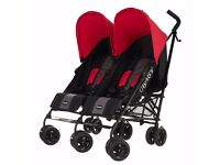 Double O baby pram red and black