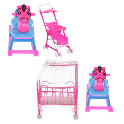 4pcs Plastic Miniature Nursery Baby Doll Furniture for Dolls House Accessory
