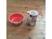 Whittard of Chelsea hand painted ceramic jug and bowl.