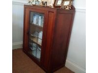 Vintage Antique Cabinet Cupboard Shelf Unit with lead window