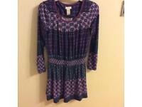 Monsoon girls purple tunic dress age 7-8 years
