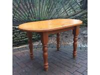 Oval solid pine table. chunky