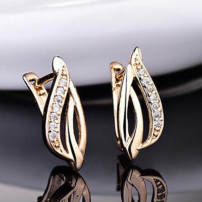 Flame Leaf Crystal Zircon Gold Filled Women Lady Golden Jewelry Hoop Earring -