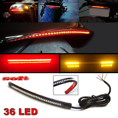 "12"" Bendable Universal Motorcycle LED Light Strip Tail Brake Flowing Turn Signal"