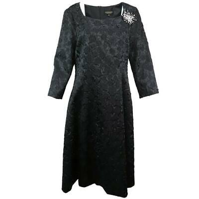Giovanna Womens A Line Dress Black Brocade Lined Midi Scoop Neck 3/4 Sleeve 14