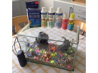 Medium glass fish tank with loads of accessories