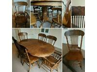 Solid wood dining table with 6 chairs (2 carver chairs)