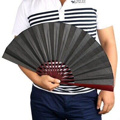Japanese Dance Party Wedding Bamboo Folding Hand Held Fan Solid Black Fan