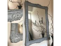 Refurbished shabby chic mirror grey colour very decorative & ornate